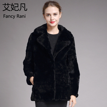 Genuine-Fur-Coat Wool-Coat Sheepskin Long-Jacket Winter Women Sheared Natural Fur Black