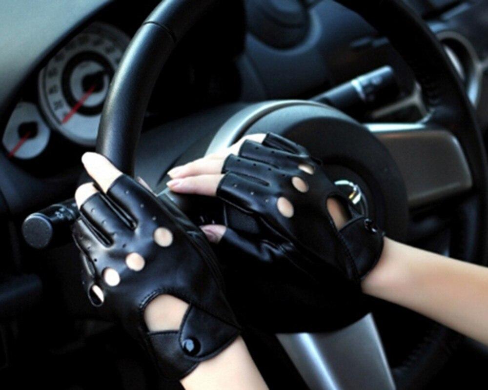 Модные женские перчатки для вождения с открытыми пальцами из искусственной кожи черные перчатки без пальцев для женщин