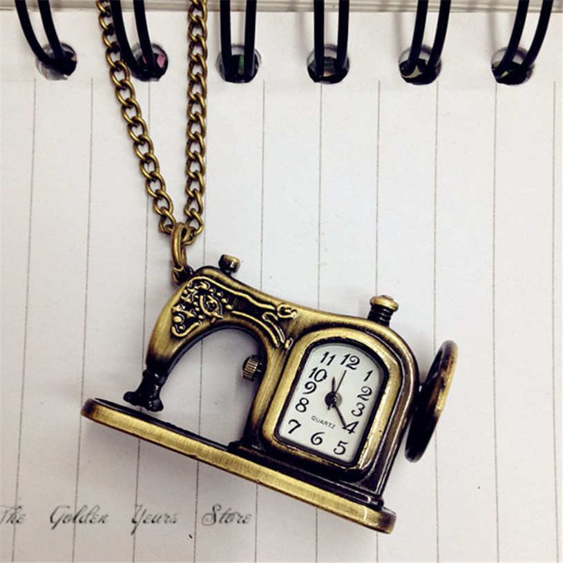 Clock Fashion Gift Women Men Watches 2017 New Unisex  Retro Antique Bronze Alloy Sewing Machines Pendant Pocket Christmas1213d40 heart shaped hollow alice in wonderland drink men tag pocket watch women ladies luxury pendant gift bronze fob watches