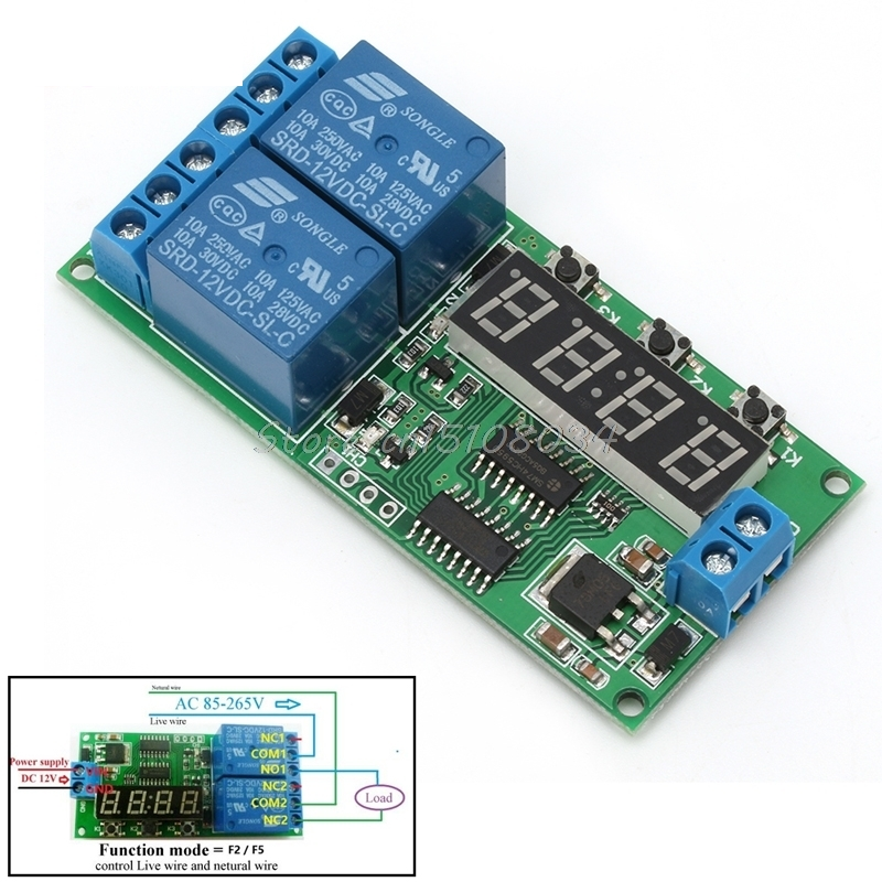 2 Channel Delay Timer Relay Module Multifunctional Controller Reversible 12V DC #S018Y# High Quality 1pc multifunction self lock relay dc 12v plc cycle timer module delay time relay