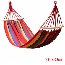 Canvas Camping Hammock Wooden stick Prevent Rollover Hammocks Bar Garden Camping Swing Hanging Bed Red Blue Stripe 240x80CM