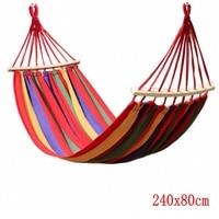 Canvas Camping Hammock Wooden Stick Prevent Rollover Hammocks Bar Garden Camping Swing Hanging Bed Red Blue
