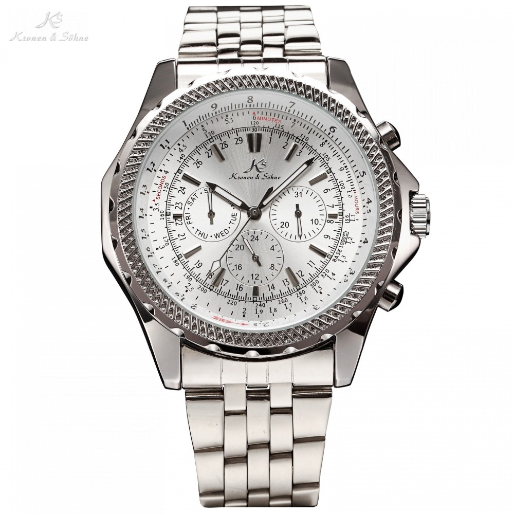 Kronen Sohne Royal Carving Luxury Male Silver White Steel Calendar 24Hrs Auto Self Winding Mechanical Mens Wrist Watch лоферы 24hrs 24hrs hr001amvjn31