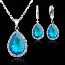 Hottest 925 Sterling Silver Color Necklace Jewelry Set Water Drop Cubic Zircon Crystal Necklaces Wedding Necklace Pendants(China)