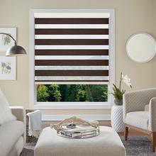 Brownish Brown Elegant Adjustable Sunlight Home Valance Dual Roller Blinds Zebra Customized