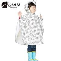 QIAN RAINPROOF Impermeable Children Raincoat PU Transparent Big Brim Rain Coat Waterproof Kids Cloak Rainwear Rain