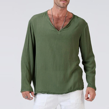 3834740b7bcf1 2018 New Fashion Men s T Shirts Casual V Neck Long Sleeve Solid Color  Cotton Basic T