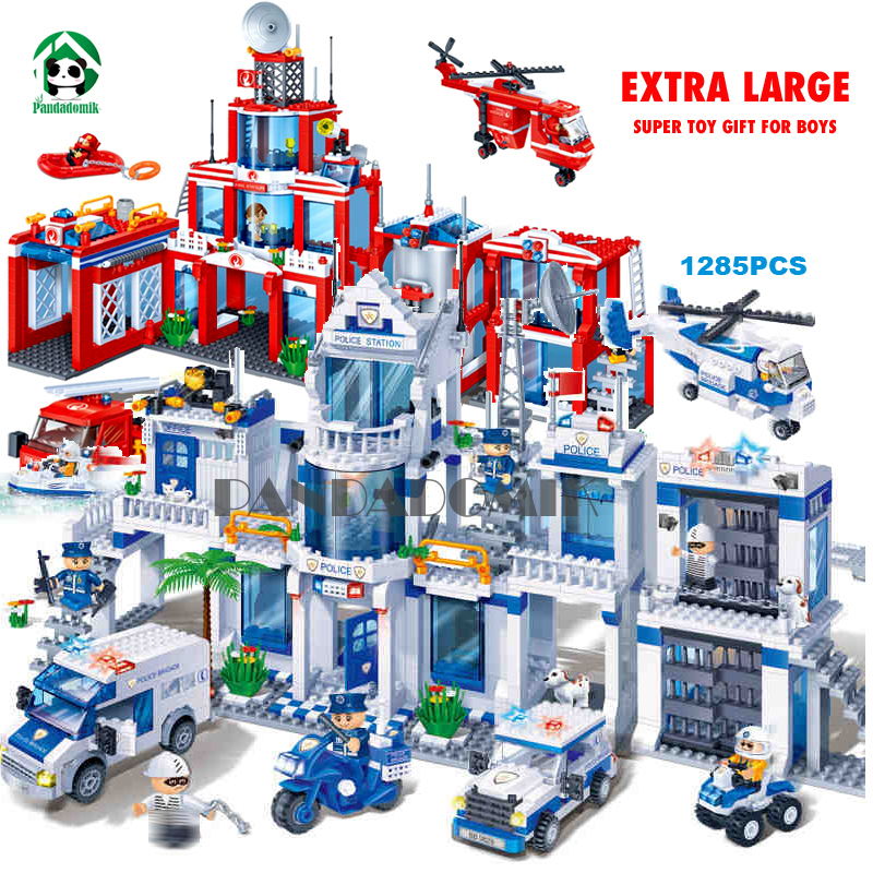 Extra Large Police Station 1285Pcs Building Blocks City Educational Toys for Children Kids Gift Toy Bricks Constructor Designer hm136 57pcs large particle building