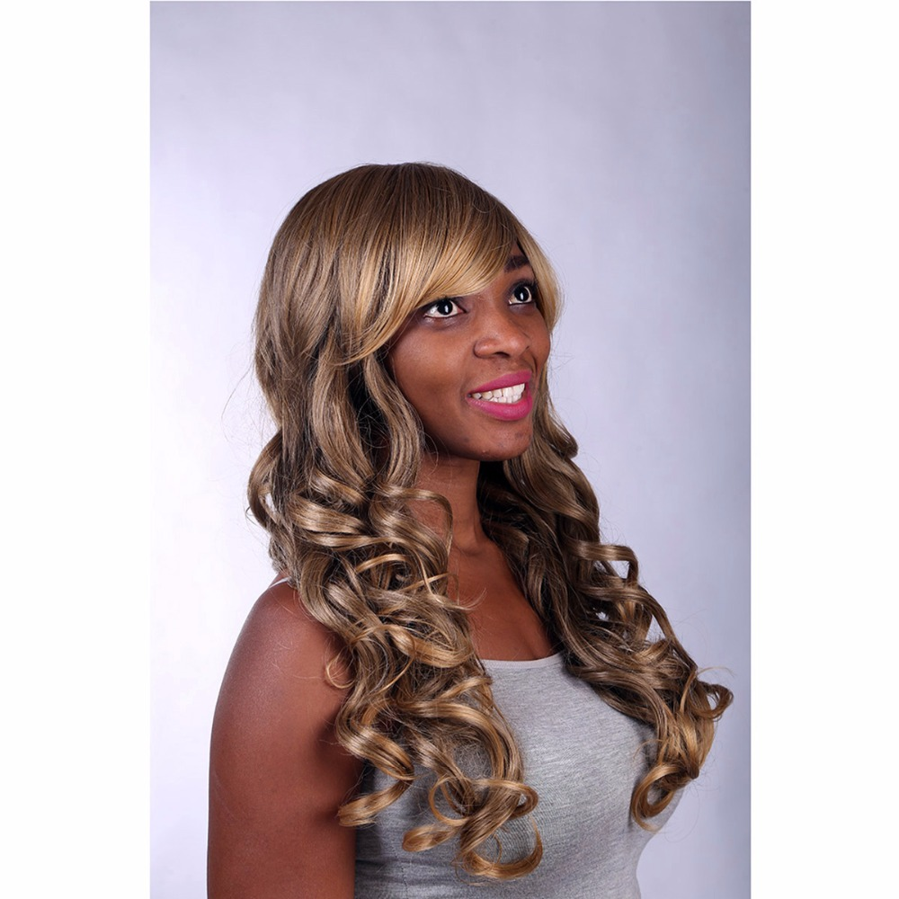 Cheap Long Wavy Curly Blonde Wig Natural Synthetic African