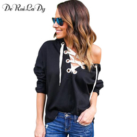 DeRuiLaDy Women Sexy Straps Long Sleeve Hoodies Sweatshirts 2018 Female Pullovers Fashion V Neck Bandage Hoodies