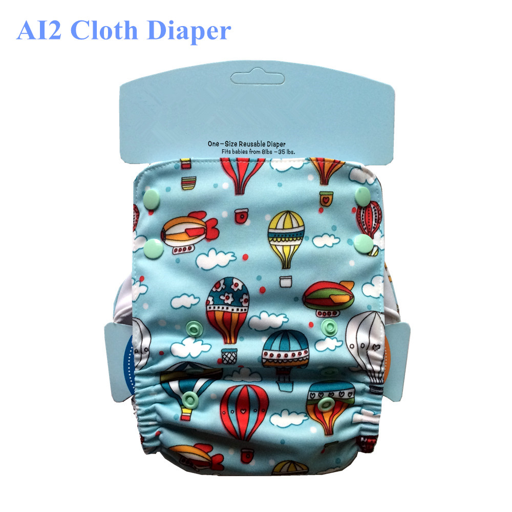 AI2 Cloth Diaper Reusable Diaper Baby Diapers, Bamboo Cotton Snap Insert, Waterproof Breathable, Fit 3-15kg baby