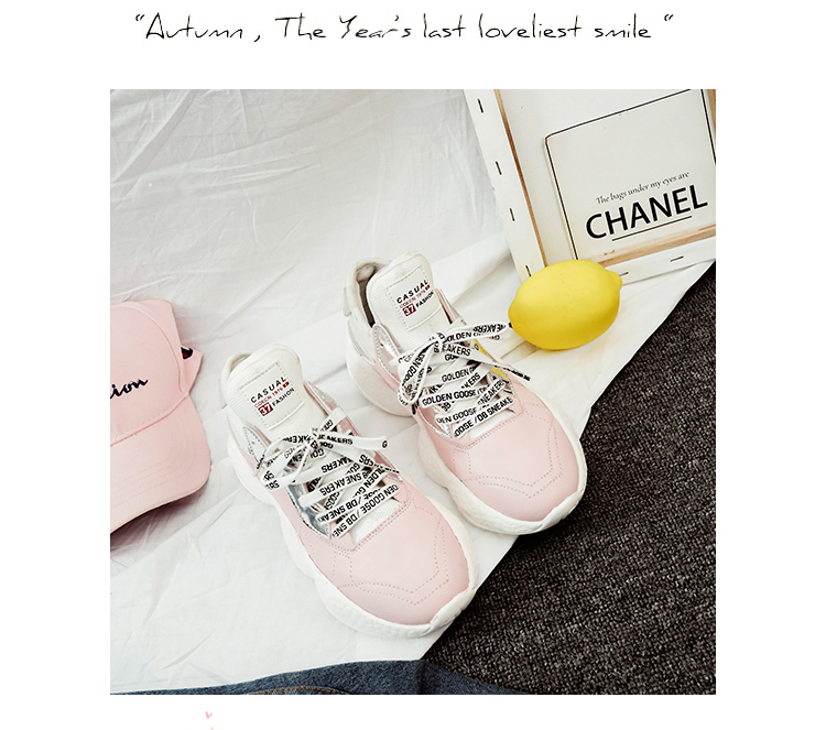 42269d725eb6 ... Shoes Wide Platform Heels Trainers Flats. 2018 Cute Lace Up Tenis  Feminino Creepers Pink White Sneakers
