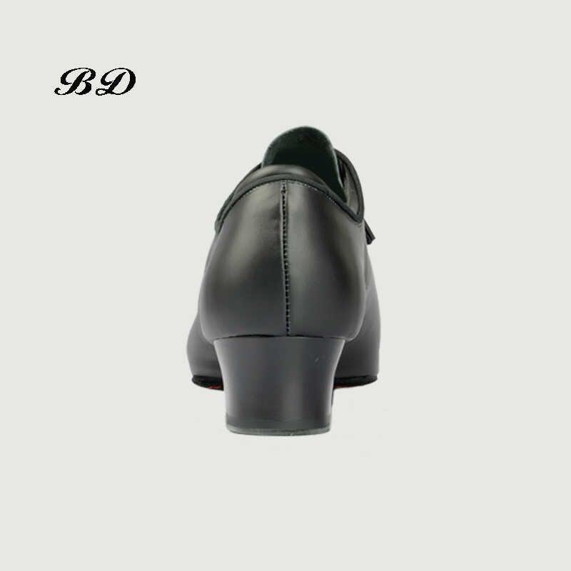 2018 حذاء رجالي مهنة اللاتينية الرقص أحذية قاعة الحذاء الحديثة لينة جلد البقر قسط أكسفورد القماش كعب 4.5 سنتيمتر BD 417 أصيلة