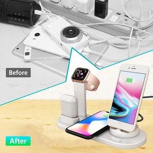 Image 5 - Беспроводное зарядное устройство 4 в 1, подставка для iPhone 11, 8, XS, XR, Apple Watch, Airpods Pro, 10 Вт, Qi, быстрая зарядка, док станция для Samsung S10, S9