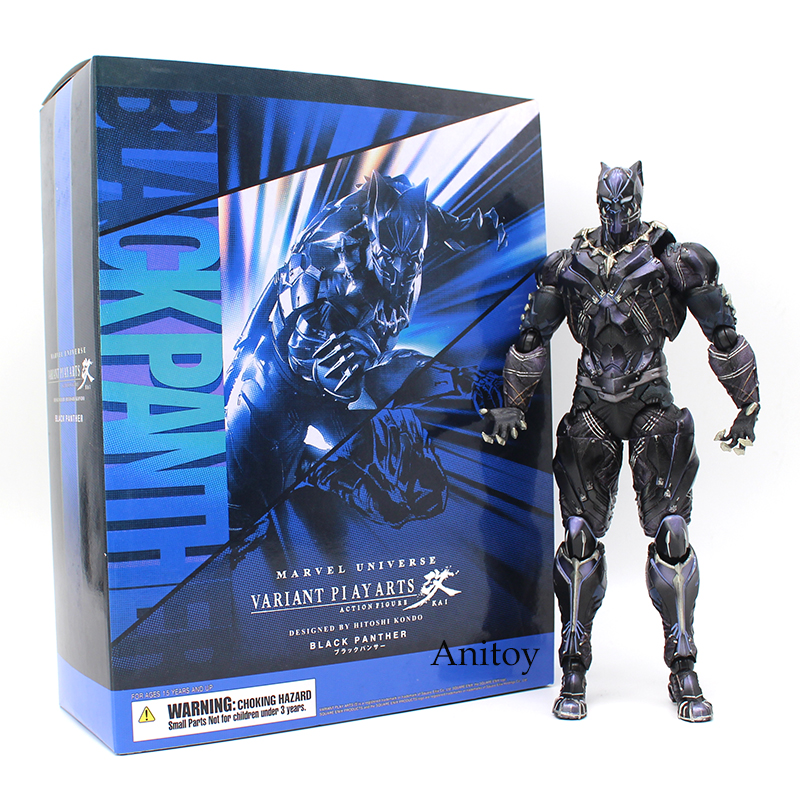 Variant Paly Arts KAI Marvel Universe Black Panther PVC Action Figure Collectible Model Toy 26cm play arts kai street fighter iv 4 gouki akuma pvc action figure collectible model toy 24 cm kt3503
