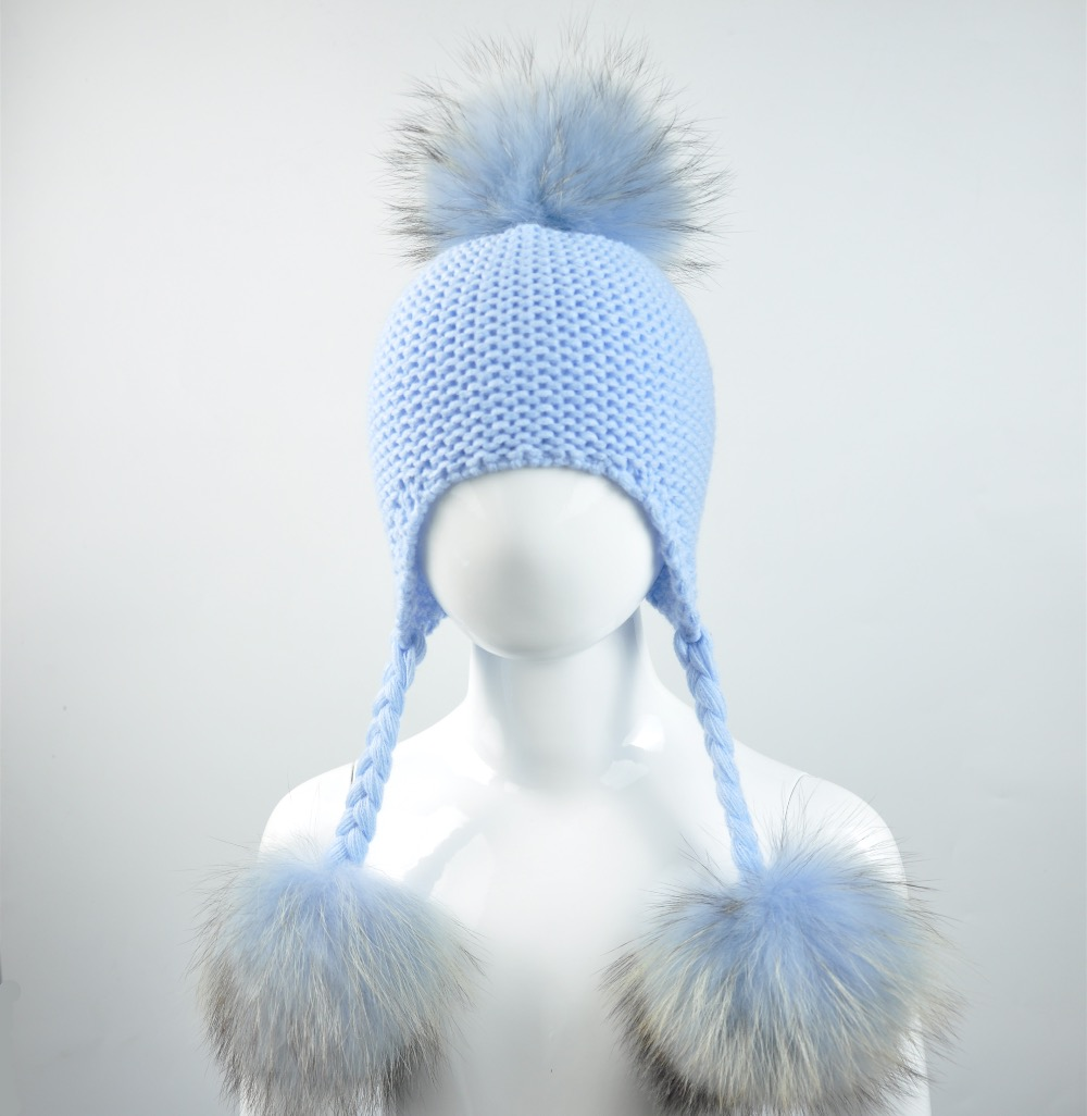 f0f3260255d 2019 Knitted Baby Hat With Three Real Fur Pompom Children Beanie Boy ...