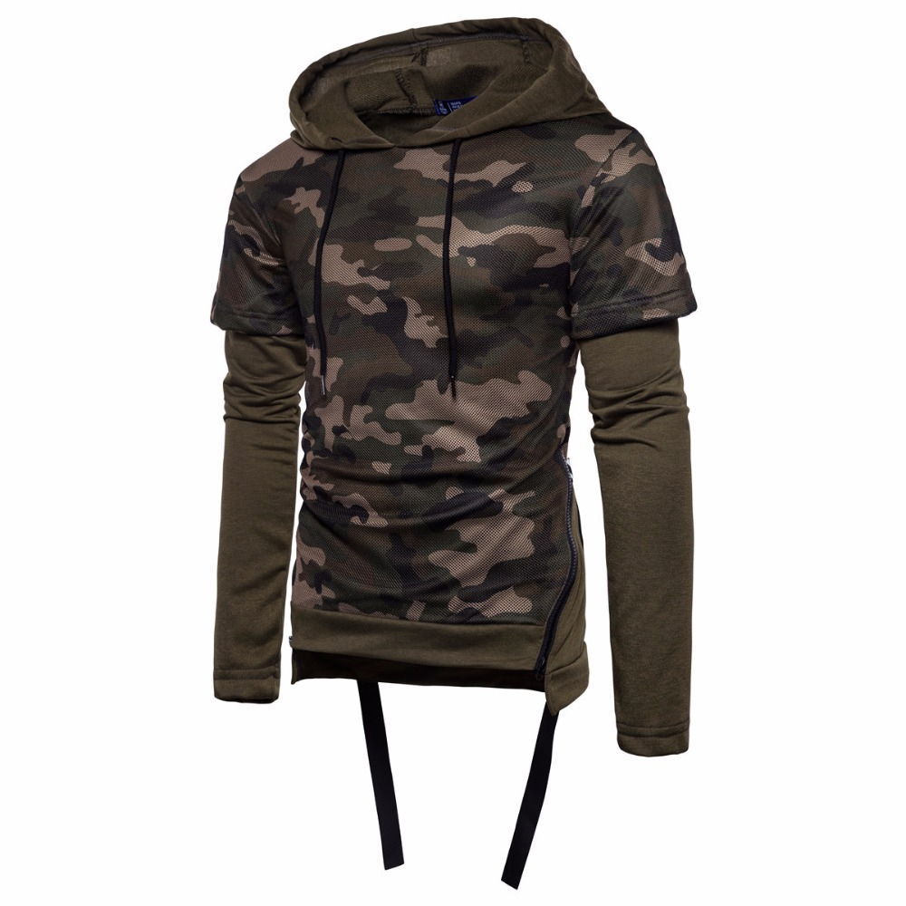 2017 European size men hedging camouflage hoodies fashin fake two-piece hooded zipper Pullovers for male S-2XL