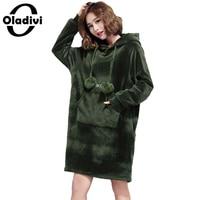 Oladivi Oversize Plus Size Gold Velvet Dress Fashion Ladies Casual Hooded Dresses Lady Loose Tracksuit Sweatshirt