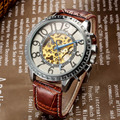 Brand Name GOER Men's Mechanical Watches Fashion Steampunk Black Leather Band Skeleton Automatic Mechanical Wrist Watches