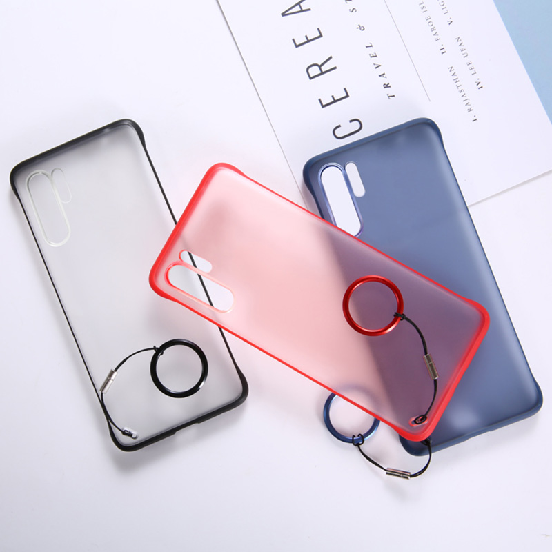 Ultra thin Frameless Matte PC Phone Case For Huawei Honor P20 P30 20 Pro Lite Nova 3e 4e 5 5i With Ring Rope Cover Coque Funda in Half wrapped Cases from Cellphones Telecommunications