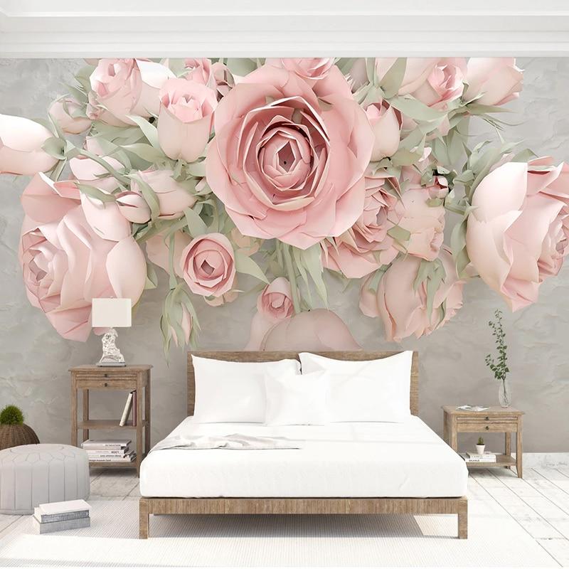 Custom 3D Wallpaper Modern Flowers Murals Living Room Bedroom Romantic Home Decor Wall Paper For Walls 3D Papel De Parede Fresco