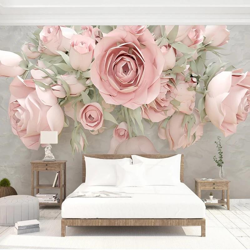 Kustom 3d Wallpaper Modern Bunga Lukisan Dinding Ruang Tamu Kamar Tidur Romantis Dekorasi Rumah Dinding Kertas Untuk Dinding 3d Papel De Parede Fresco Wallpaper Aliexpress