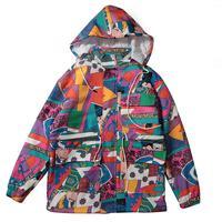 New Color Block Patchwork Jacket Woman Hip Hop Removable Hooded Bomber Jacket Streetwear Long Geometric Coat chaquetas coloridas