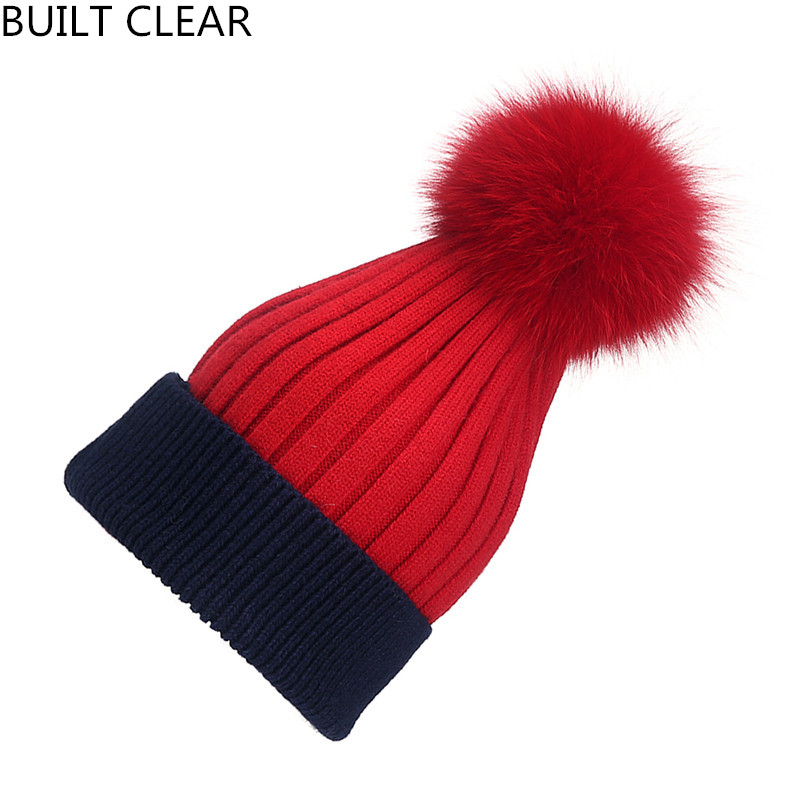 (BUILT CLEAR) winter hats unisex hat knitted wool Skullies casual hat with real raccoon fur fox tassel colors ski gorros cap skullies