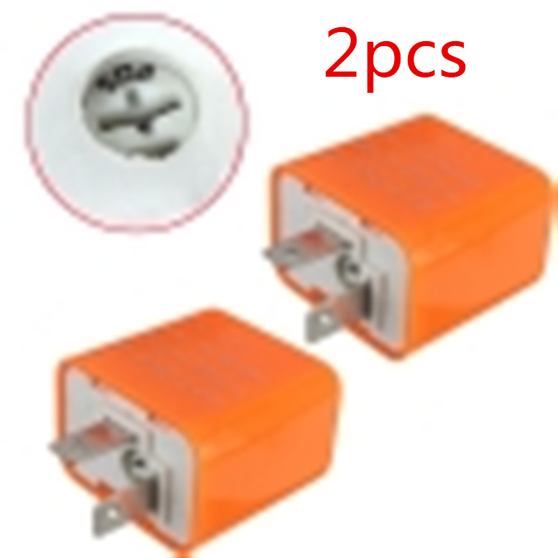 2Pcs 12V 2 Pin Universal Electronic Adjustable Frequency Square LED Flashing Relay Motorcycle Turn Signal Hyper Flash
