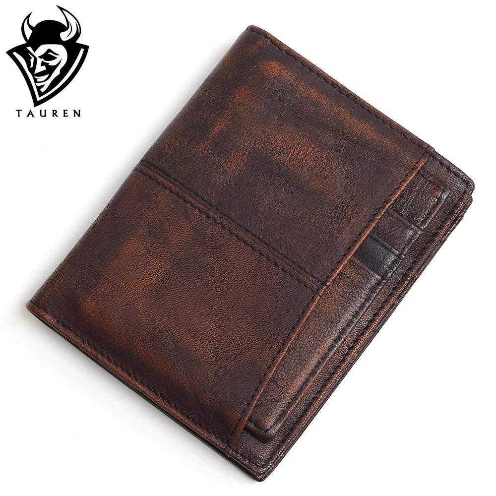 RFID Blocking 100% Cow Genuine Leather Men Wallets Luxury,Brush Color Short Style Male Purse,Carteira Masculina Original Brand baellerry small mens wallets vintage dull polish short dollar price male cards purse mini leather men wallet carteira masculina