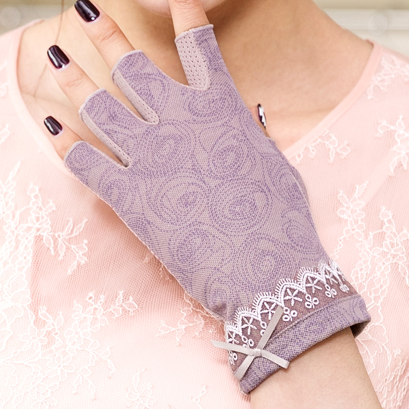 REALBY Cotton Womens Fingerless Gloves Summer Sunscreen Gloves Female Ultraviolet Half-Finger Driving Gloves Luvas gants femme