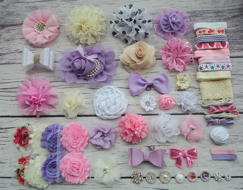 Shower Headband Station Kit,DIY Headband Making Kit,First Birthday Party Headband Kit,Hair Bow Kit ,Lavender,pink,ivory,S45 цена и фото