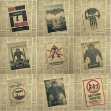 District 9 Sharlto Copley Science fiction movie Home Furnishing decoration Kraft Movie retro Poster Drawing core Wall stickers
