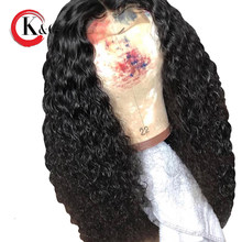 Kun Gang Curly Lace Front Human Hair Wigs For Women Brazilian Remy Hair Glueless Lace Wig Pre-Plucked With Baby Hair(China)