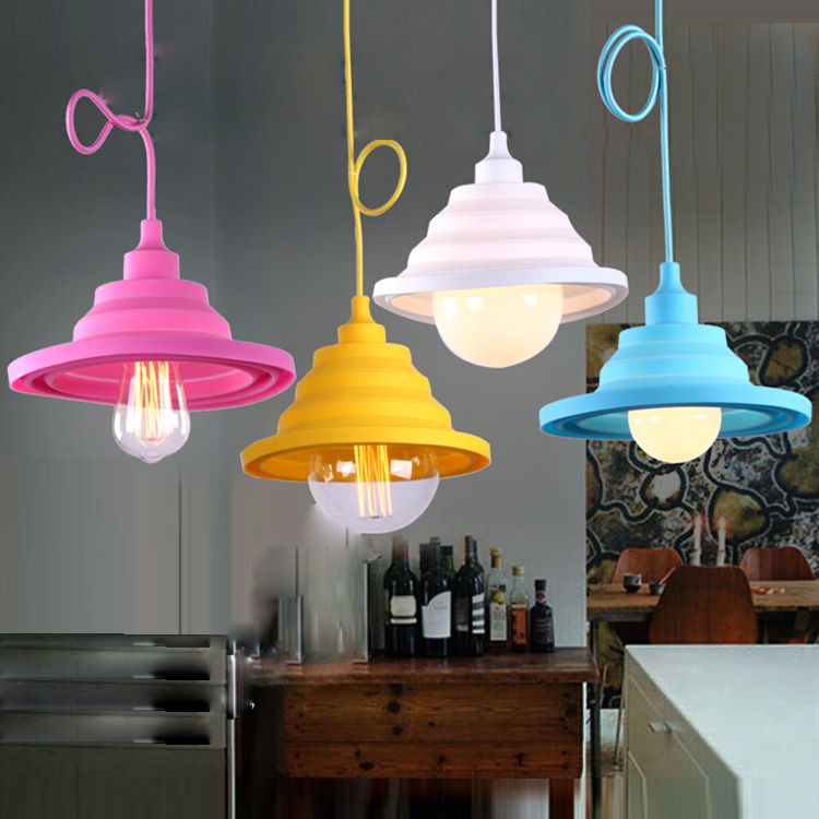 pendant personality single head children room candy folding small hanging lamp dining room bar table lamps and lanterns