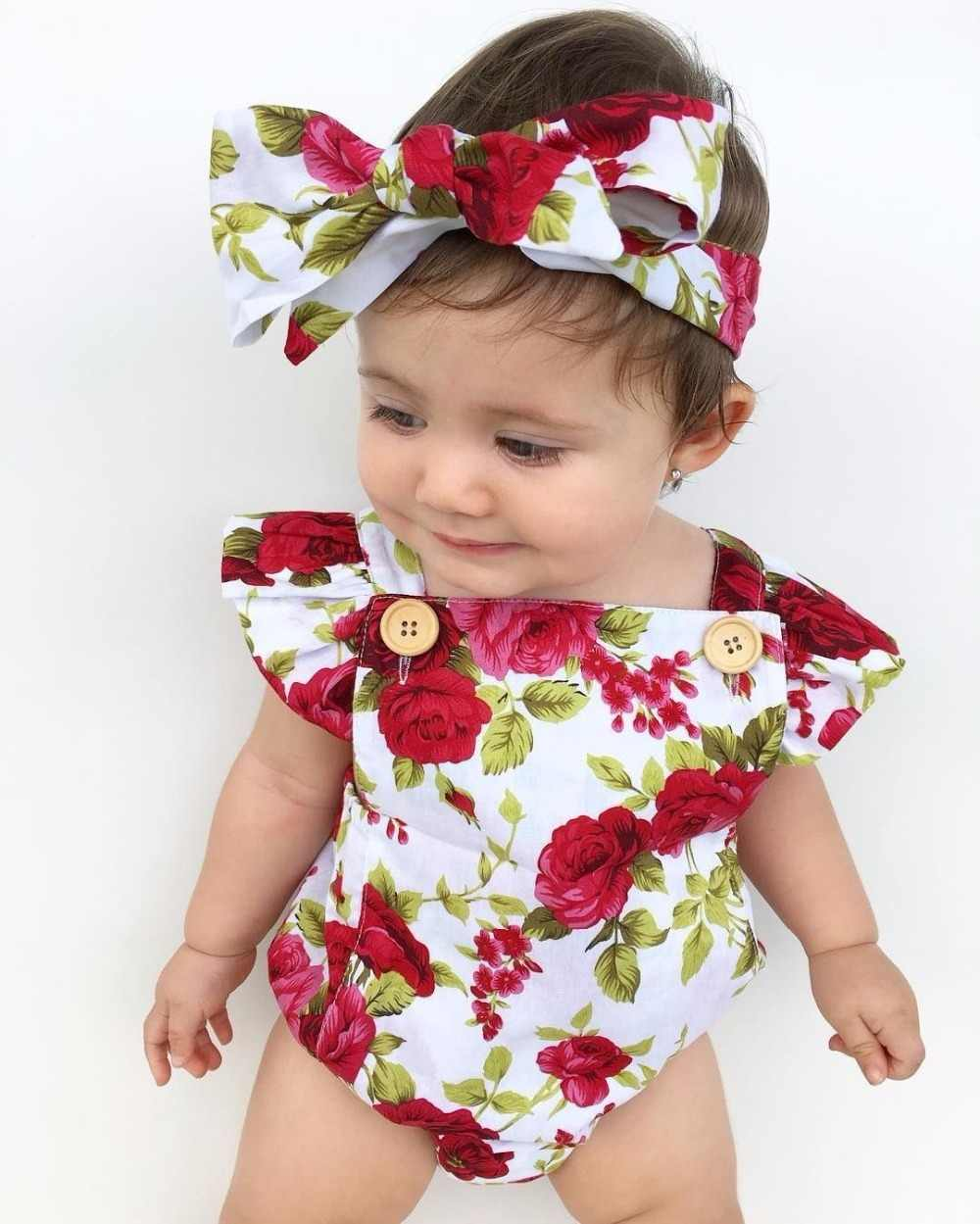 7f94b6d5a93 ... Newborn Infant Baby Casual Romper Rose Print Floral Jumpsuit+Headband  Overall Lucky Cute Bebe Kids ...