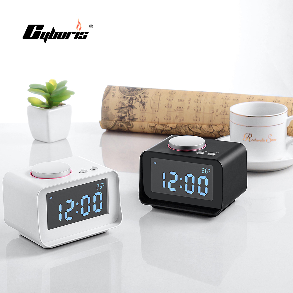 cyboris radio alarm clock speakers lcd screen with dual usb charger fm speaker function for mp3. Black Bedroom Furniture Sets. Home Design Ideas