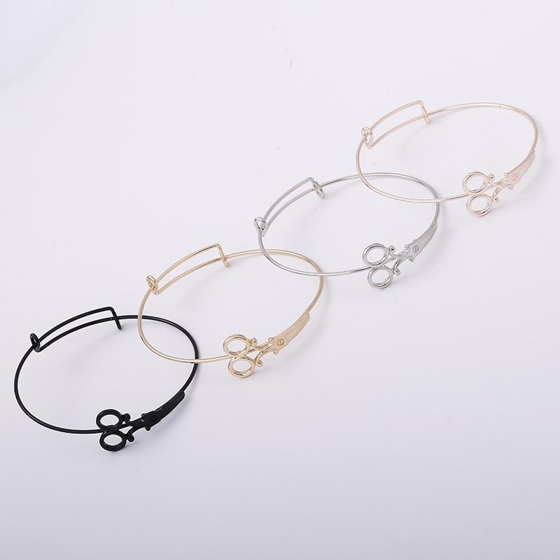 Women Europe hyperbole Bracelets gold silver scissors creative design funny Bracelets copper summer fashion lady jewelry