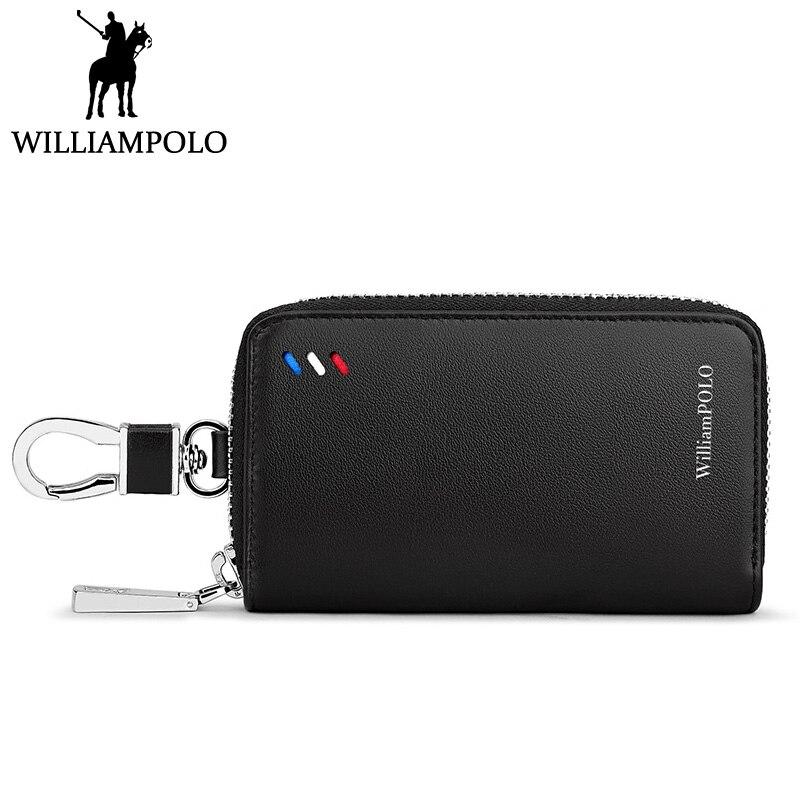 WILLIAMPOLO 2018 Home Key Holder Leather Men Luxury Brand Car Key Case Organizer Bag Men Metal Buckle Style Safety Strap Design