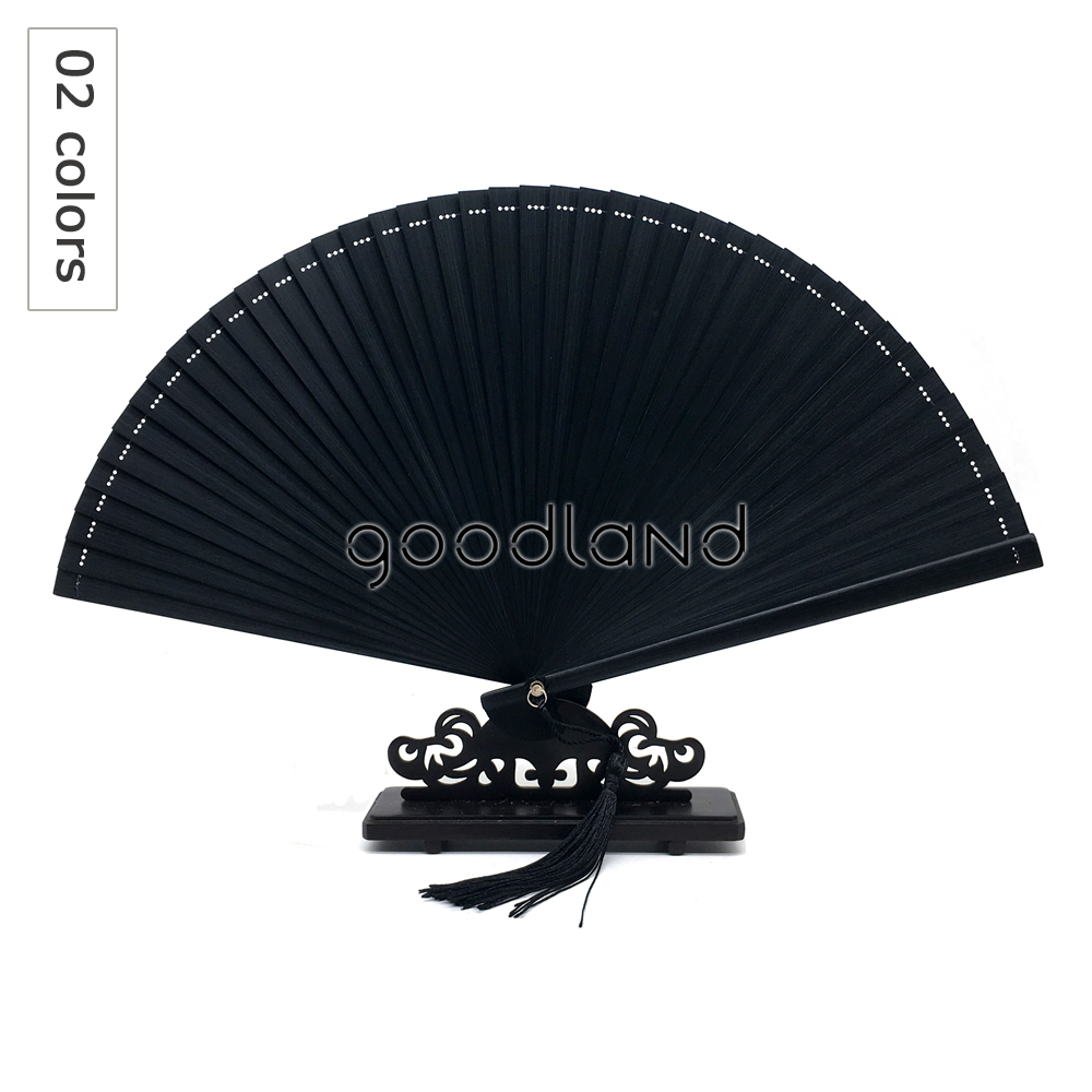 Free Shipping 1pcs Coffee Black Chinese Japanese Full Bamboo Hand Fan, Bamboo Hand Held Folding Fan With Free Tassel For Gift