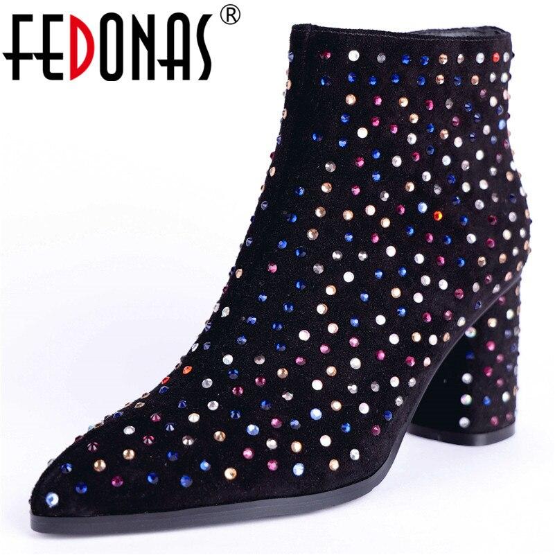 Frauen Schuhe Fein Fedonas 2019 Heißer Mode Frauen High Heel Stiefeletten Kurzen Winter Martin Schnee Stiefel Mode Schuhe Warme Fersen Boot Schuhe