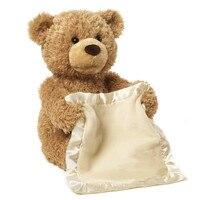 30cm Peek Boo Teddy Bear Play Hide And Seek Lovely Cartoon Stuffed Teddy Bear Kids Birthday Gift Cute Music Bear Plush Toy
