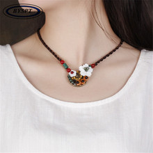 Фотография BYSPT Chinese Jewelry Vintage Cord Necklace Ethnic Necklace Handmade Wood Bead Flower shell Pendant Necklace