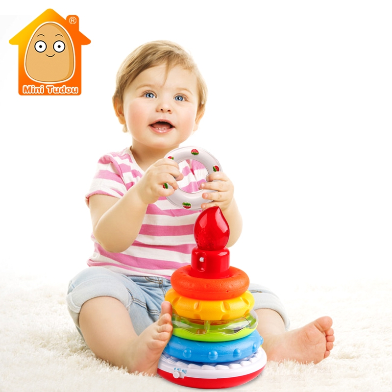 Educational Toys Rainbow Ring With Light Sound Toddler Puzzles Stacking Cup Baby Nesting Tower Sorters Constructor For Children ...