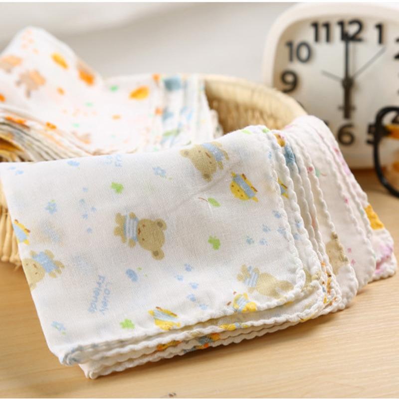 10PCS Baby Feeding Towel Teddy Bear Bunny Dot Chart Printed Children Small Handkerchief Gauze Towels Nursing Towel YYT308