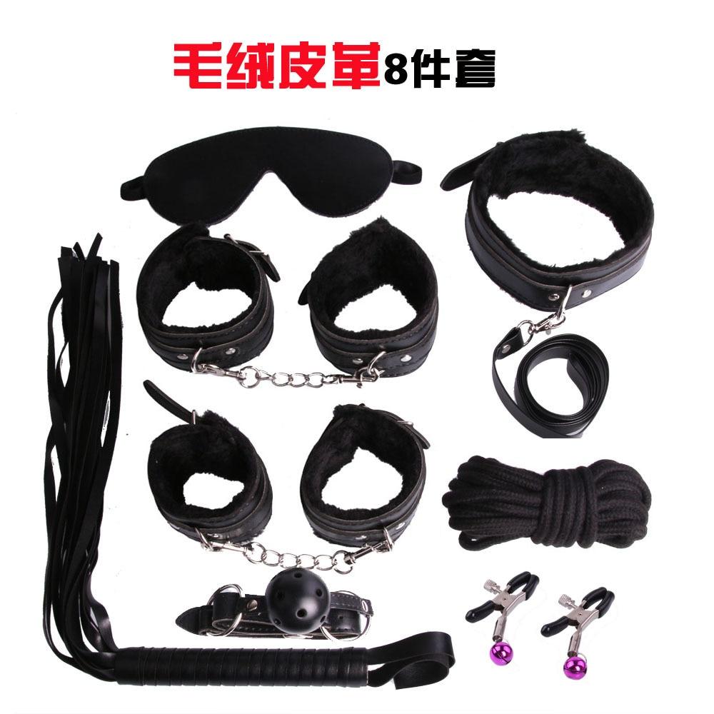 8 pcslot noir pu en cuir lit restrictions bdsm bondage set mamelon pinces - Set De Chambre King Noir