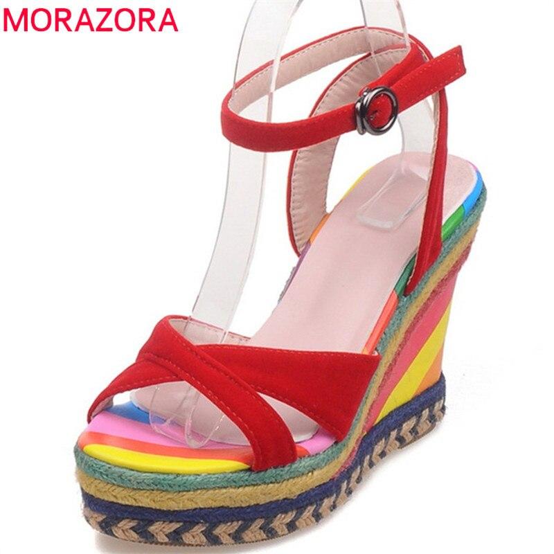 Sandales Mode Arrivent Dames 2018 De Noir rouge D'été Mélangées Morazora Couleurs Chaussures Élégant Confortables Nouveau Femmes Plate Coins forme qISxYw