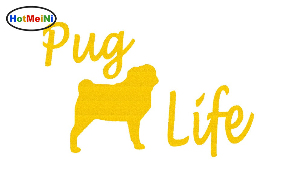 HotMeiNi Cute pet animals Cartoon Pug Life Sticker For Truck Bumper Door Laptop Pug Bulldog Tshirt Collar Dog Vinyl Decal Hot