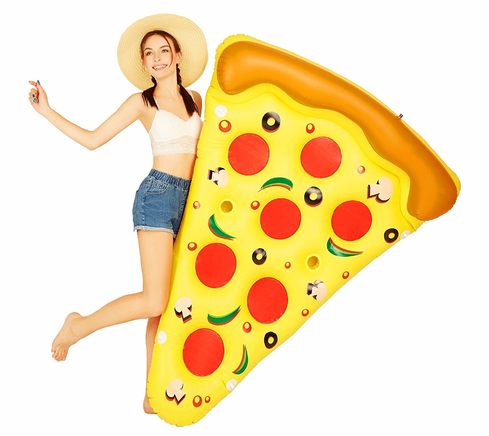 Inflatable Pizza Slice Giant Swimming Pool Water font b Toy b font Holder Giant Pizza Yellow