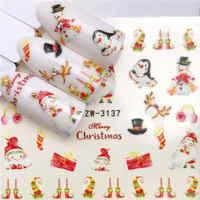 YWK 1 hoja pegatinas de uñas pegatina de transferencia de agua muñeco de nieve/regalo de Año Nuevo decoración de manicura deslizante de Arte de uñas